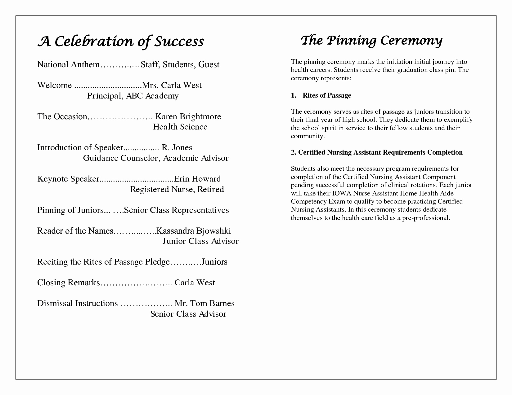 Preschool Graduation Programs Template New Award Ceremony Program Template – Free Download – December