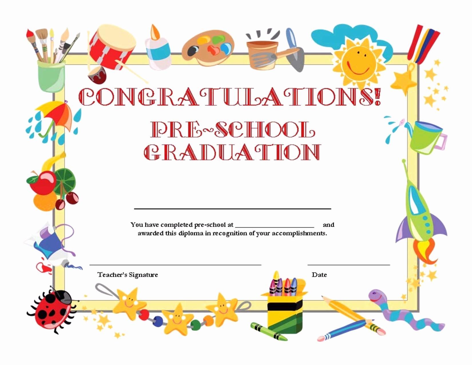 Preschool Graduation Programs Template New Preschool Graduation Certificate Template Free