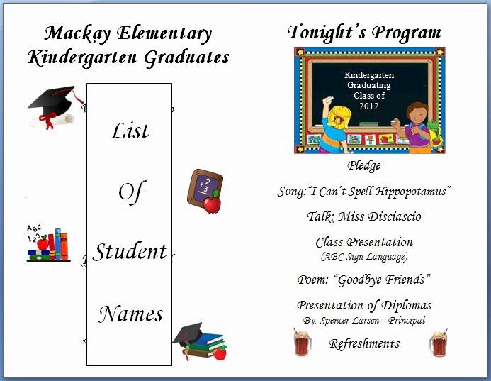Preschool Graduation Programs Template Unique Kindergarten Graduation Program