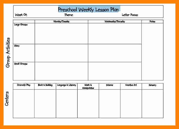 Preschool Lesson Plan Template Luxury Weekly Lesson Plan for Preschool