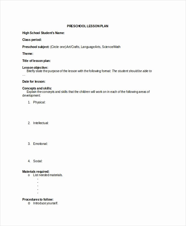 Preschool Lesson Plan Template Pdf Fresh Preschool Lesson Plan Template 10 Free Word Pdf Psd