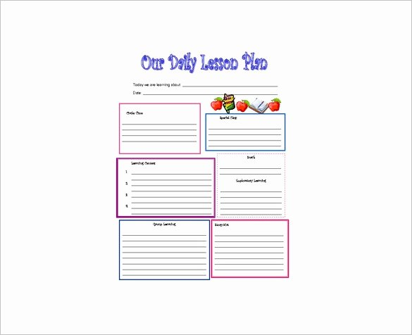 Preschool Lesson Plan Templates Inspirational Daily Lesson Plan Template 10 Free Word Excel Pdf