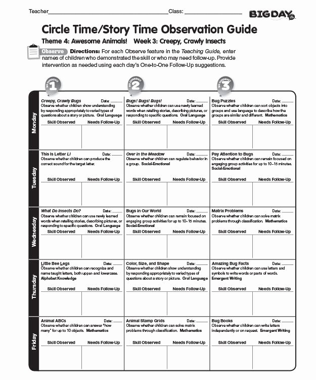 Preschool Teacher Observation form Template Beautiful Big Day for Prekindergarten Classroom Observation Guide