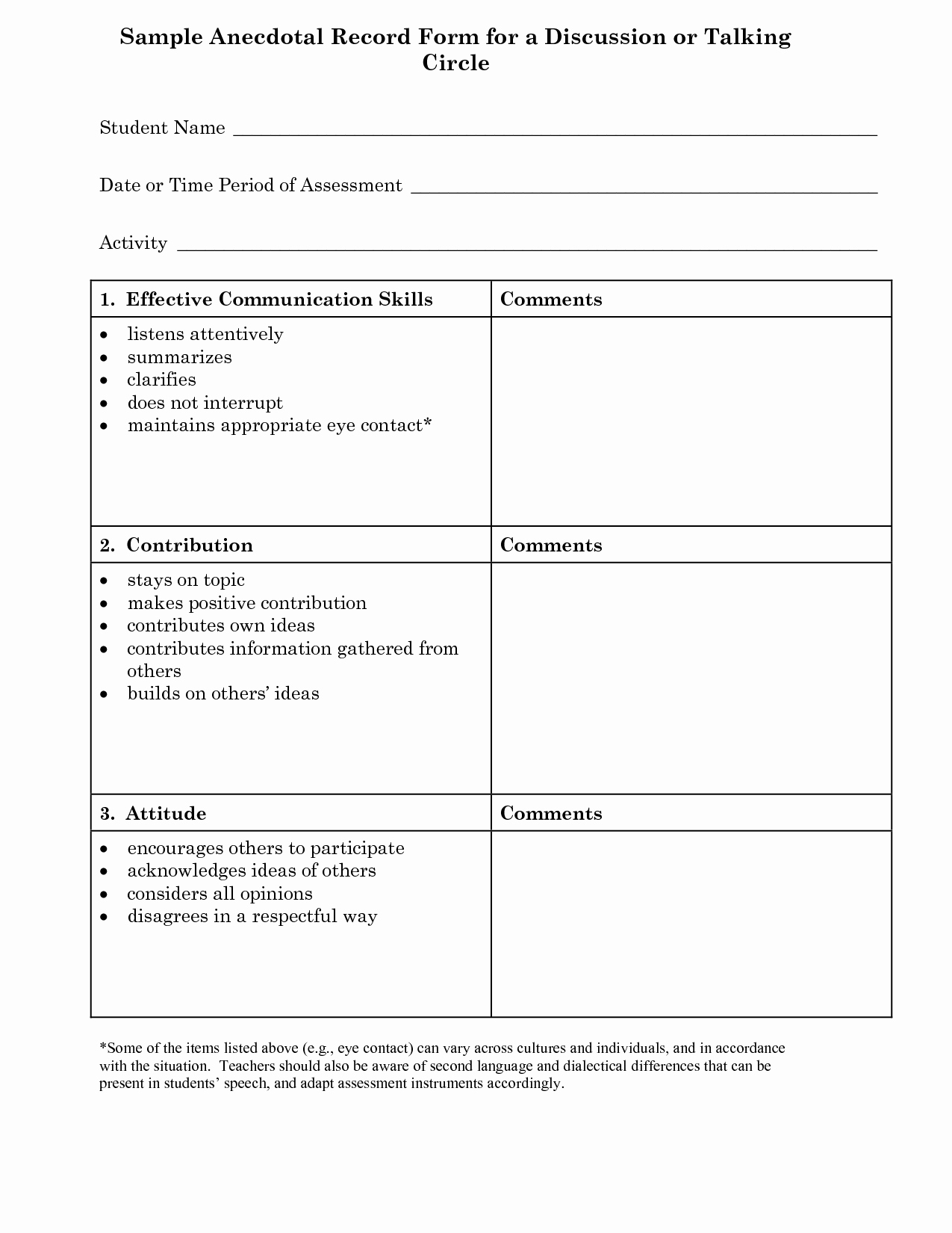 Preschool Teacher Observation form Template Elegant Anecdotal Record Examples Preschoolers
