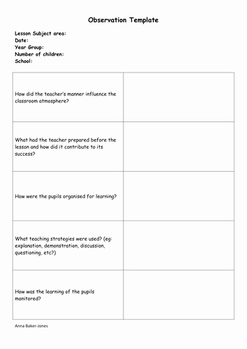 Preschool Teacher Observation form Template Elegant Observation Template Teacher Training Pgce Ta by