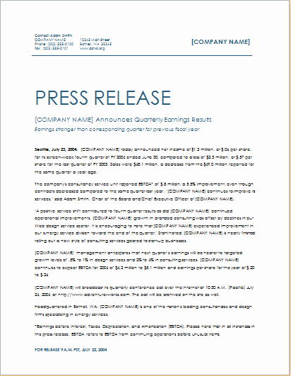 Press Release Template Doc Awesome Quarterly Earning Press Release Template