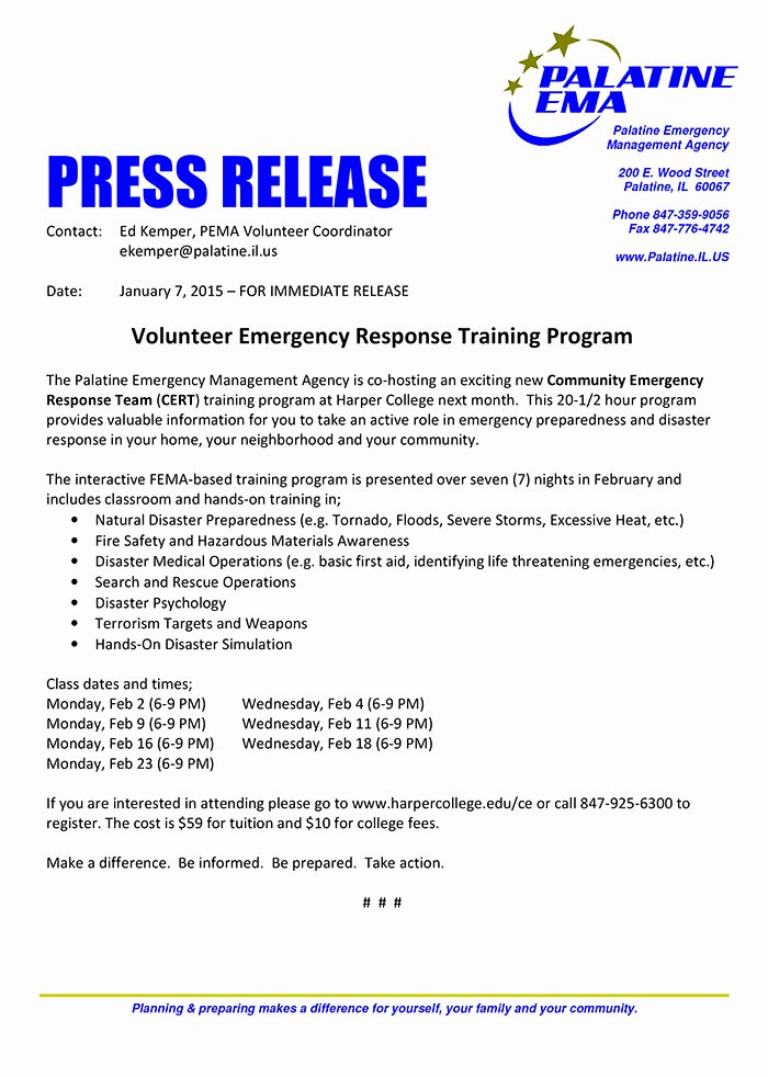 Press Release Template Doc Beautiful Palatine Ema Offers Cert Training Chicagoareafire