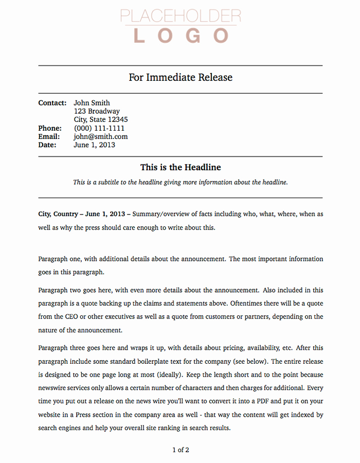 Press Release Template Doc Best Of Latex Templates Miscellaneous