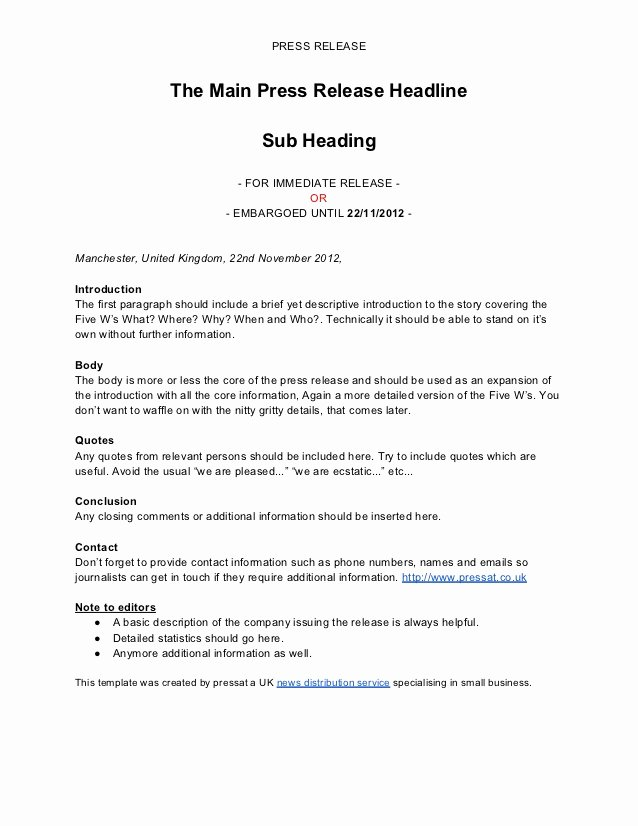 Press Release Template Doc Best Of Press Release Template by Pressat
