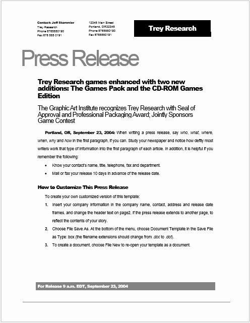Press Release Template Doc Elegant Press Release Template 15 Free Samples Ms Word Docs