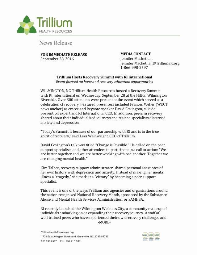 Press Release Template Doc Elegant Press Release Trillium Hosts Recovery Summit with Ri