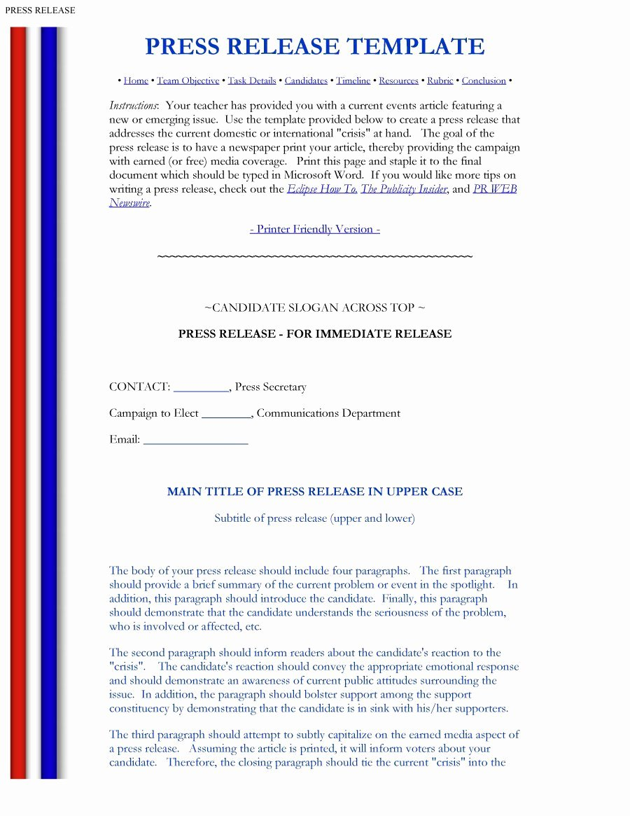 Press Release Template Doc Fresh 47 Free Press Release format Templates Examples & Samples