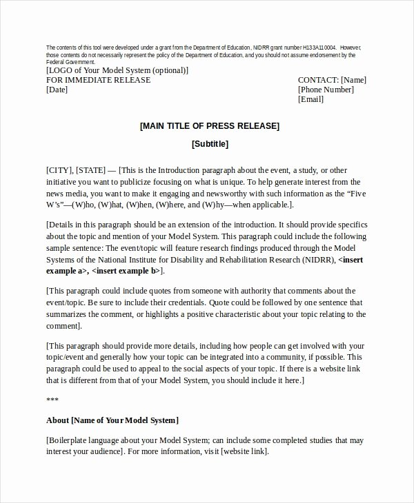 Press Release Template Doc Fresh Press Release Template 21 Free Word Pdf Document