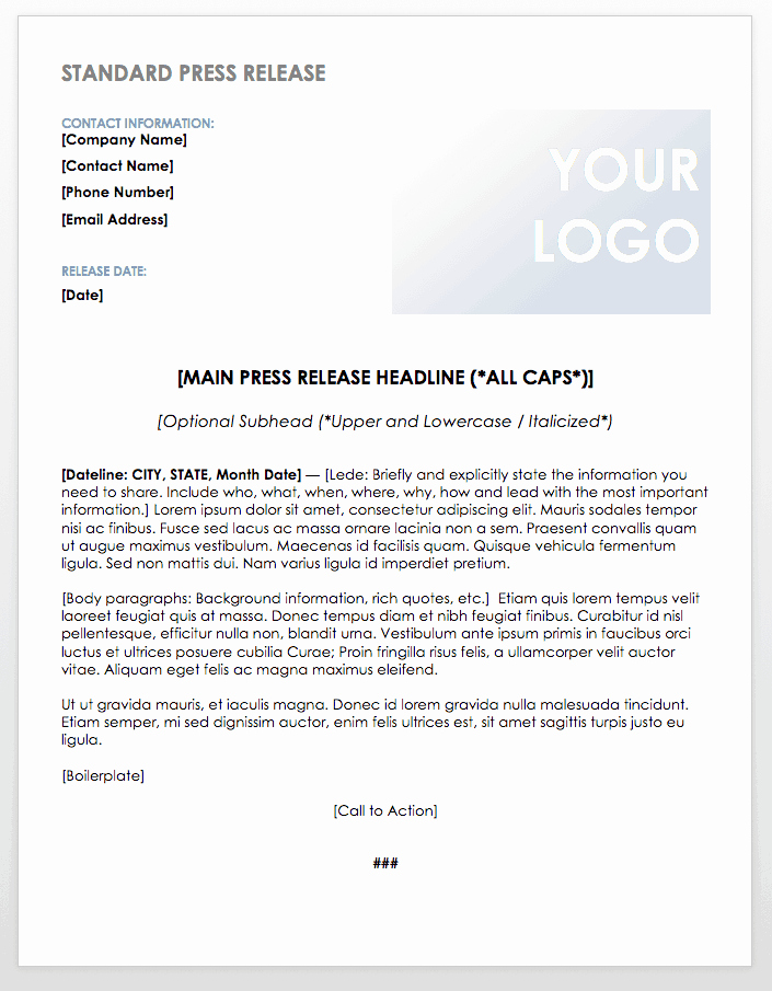 Press Release Template Doc Luxury Free Press Release Templates