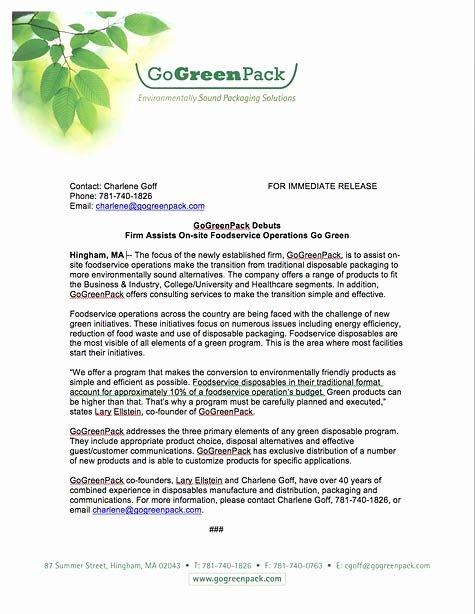 Press Release Template Word Beautiful Gogreenpack Identity Design Logo Design