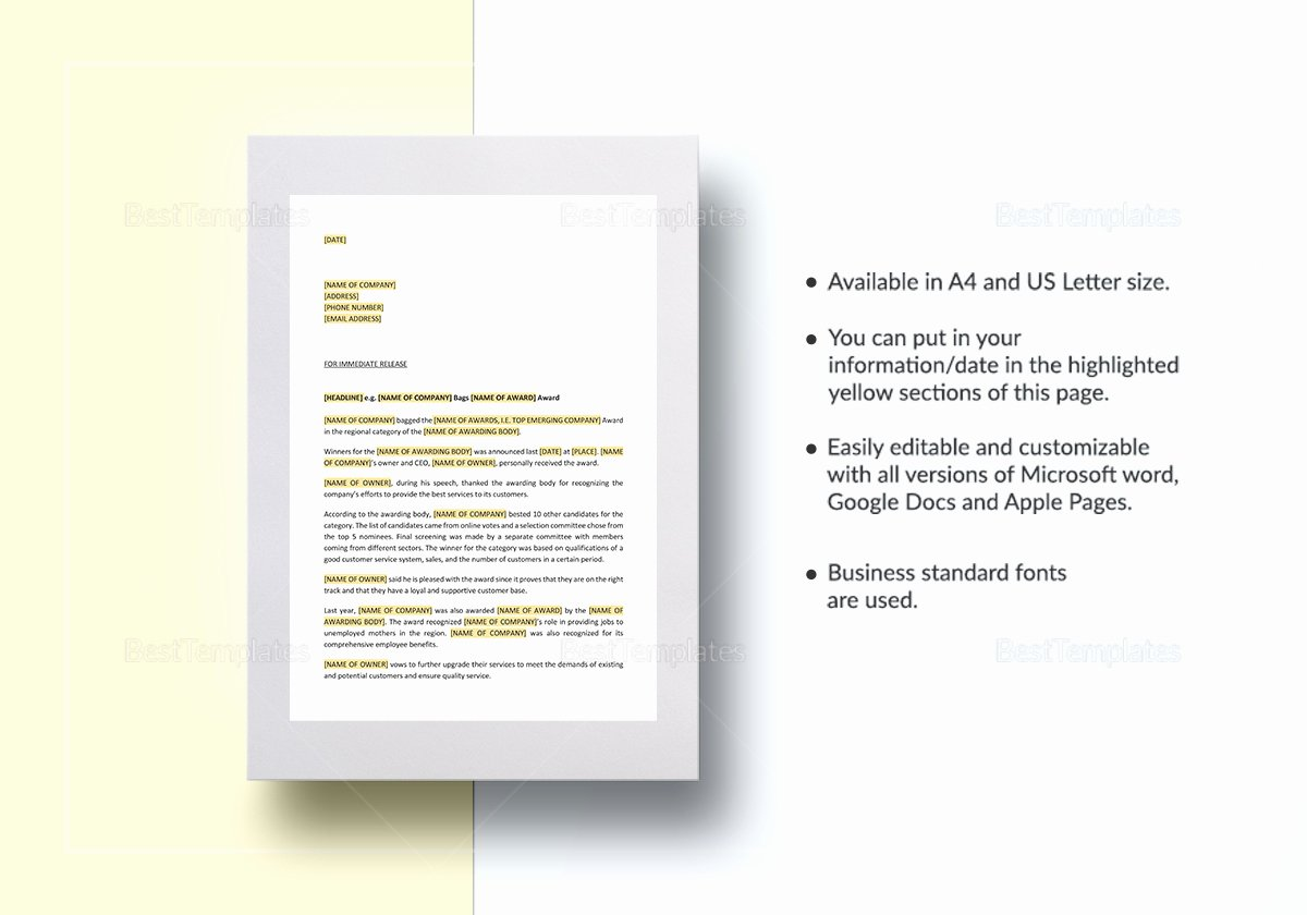 Press Release Template Word Best Of Pany Press Release for Winning Award Template In Word