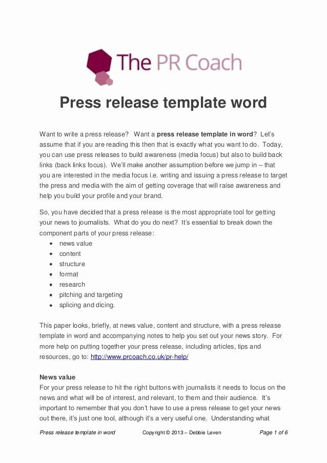 Press Release Template Word Elegant Press Release Template Word