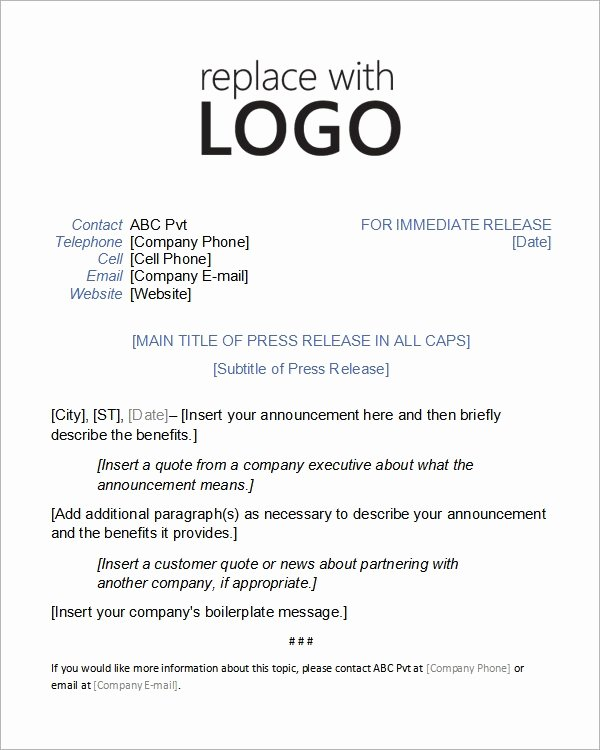 Press Release Template Word New Sample Press Release Templates 7 Free Documents