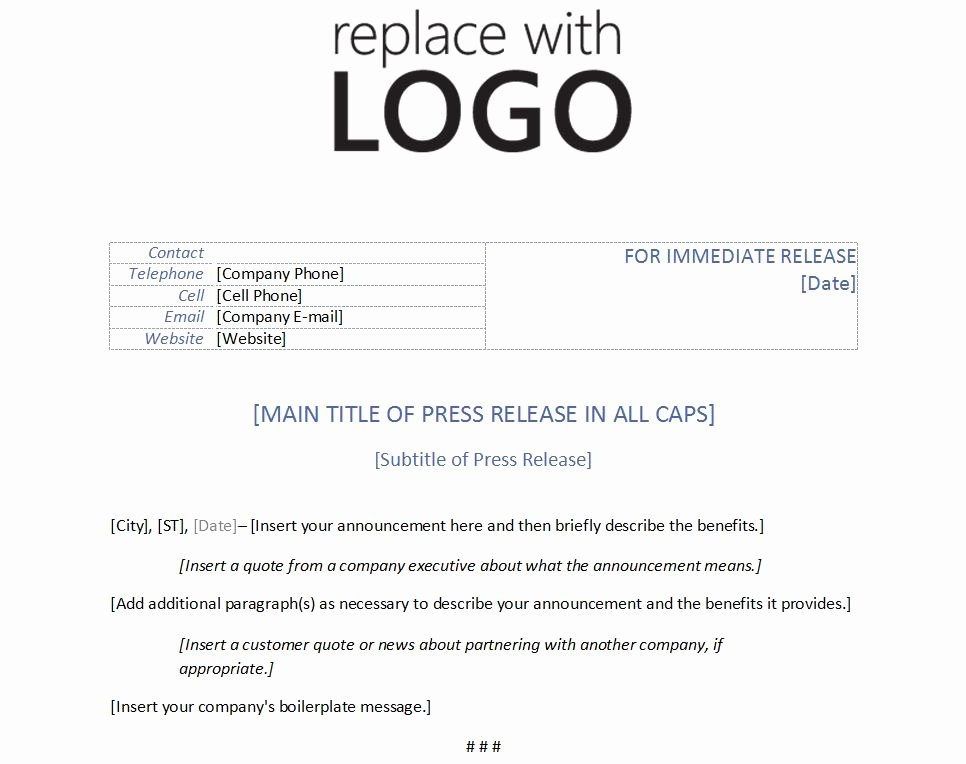 Press Release Template Word New Template for Press Release
