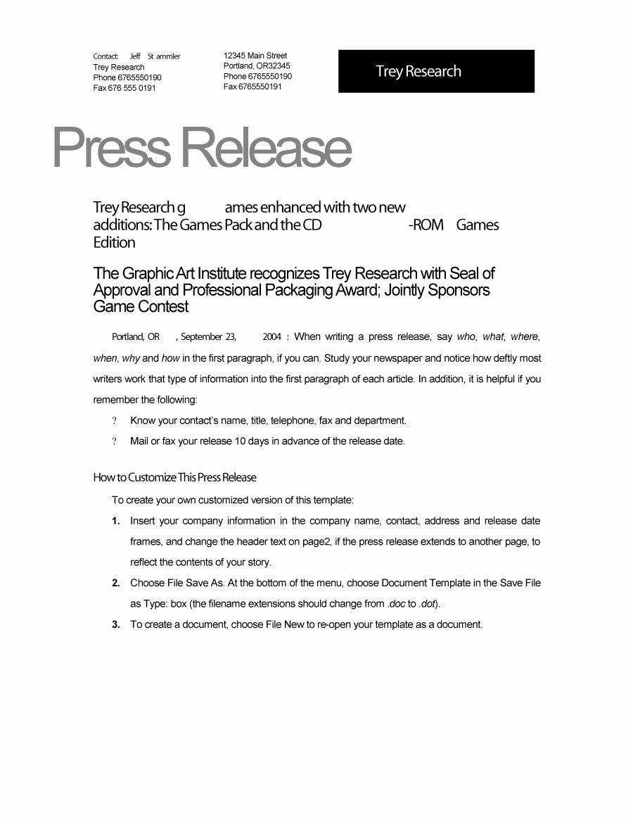 Press Release Templates Word Best Of 47 Free Press Release format Templates Examples & Samples