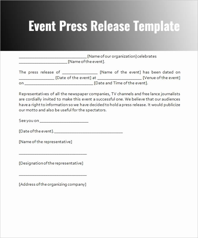 Press Release Templates Word Best Of event Press Release Template