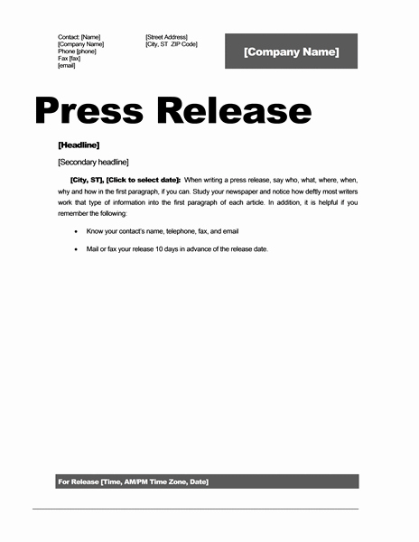 Press Release Templates Word Best Of Press Release Template 15 Free Samples Ms Word Docs