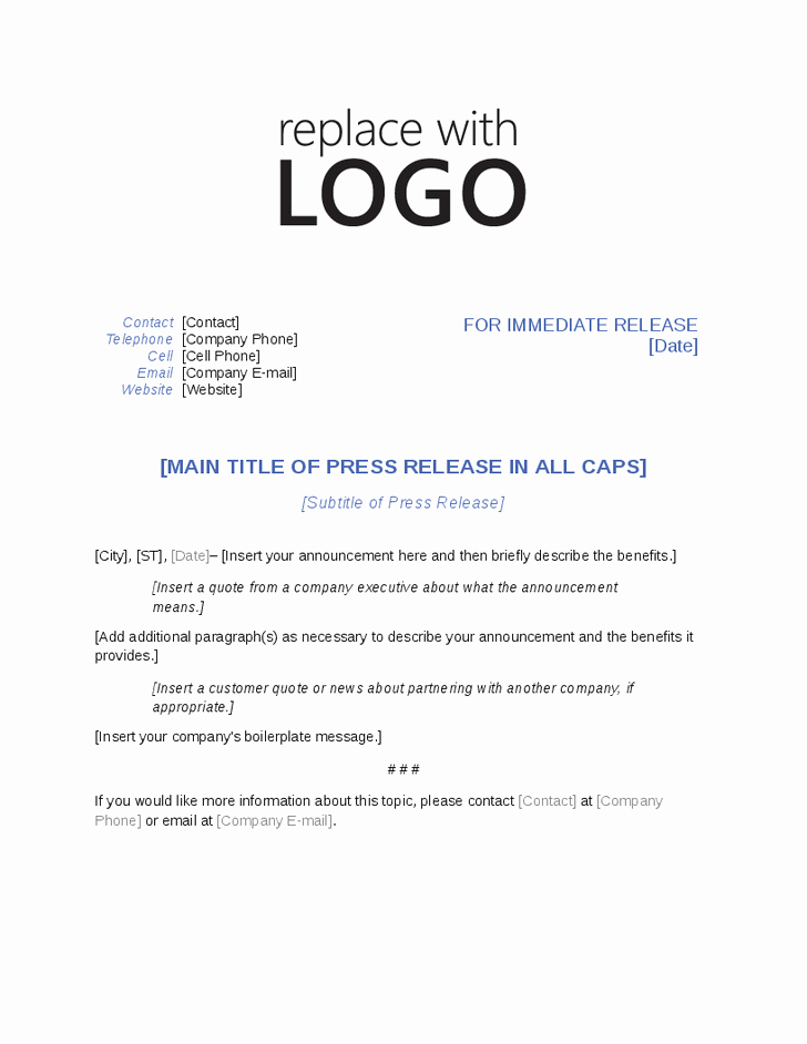 Press Release Templates Word Best Of Press Release Template