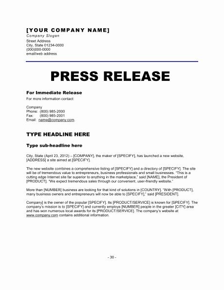 Press Release Templates Word Elegant 6 Press Release Templates Excel Pdf formats