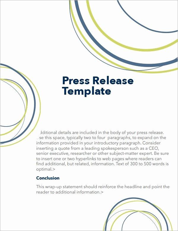 Press Release Templates Word Elegant Free 7 Press Release Templates In Word
