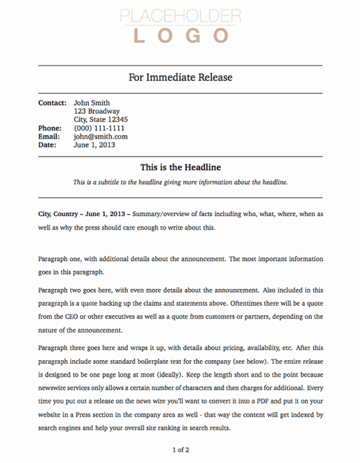Press Release Templates Word Lovely 21 Free Press Release Template Word Excel formats