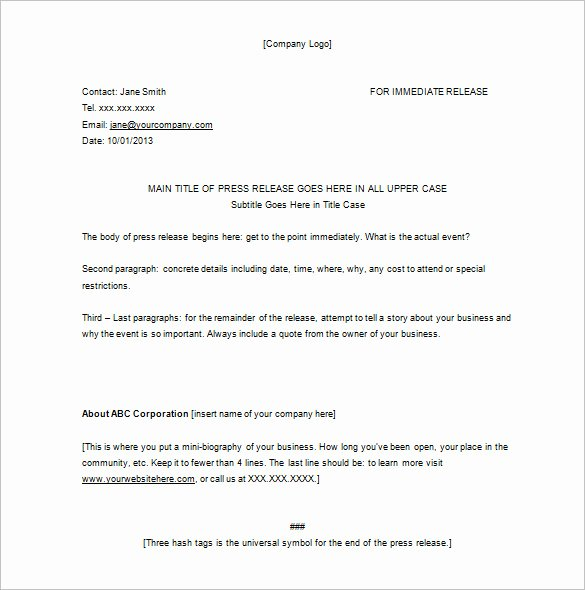 Press Release Templates Word Luxury Press Release format Template
