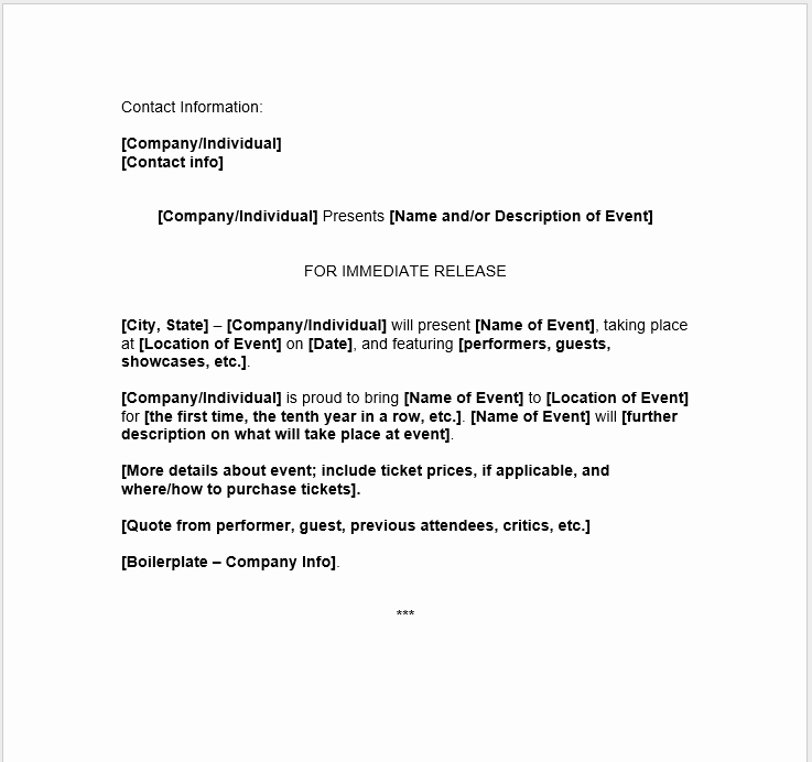 Press Release Templates Word New Press Release Template 15 Free Samples Ms Word Docs