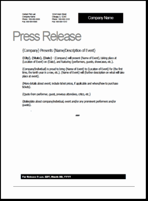 Press Release Templates Word Unique 21 Free Press Release Template Word Excel formats