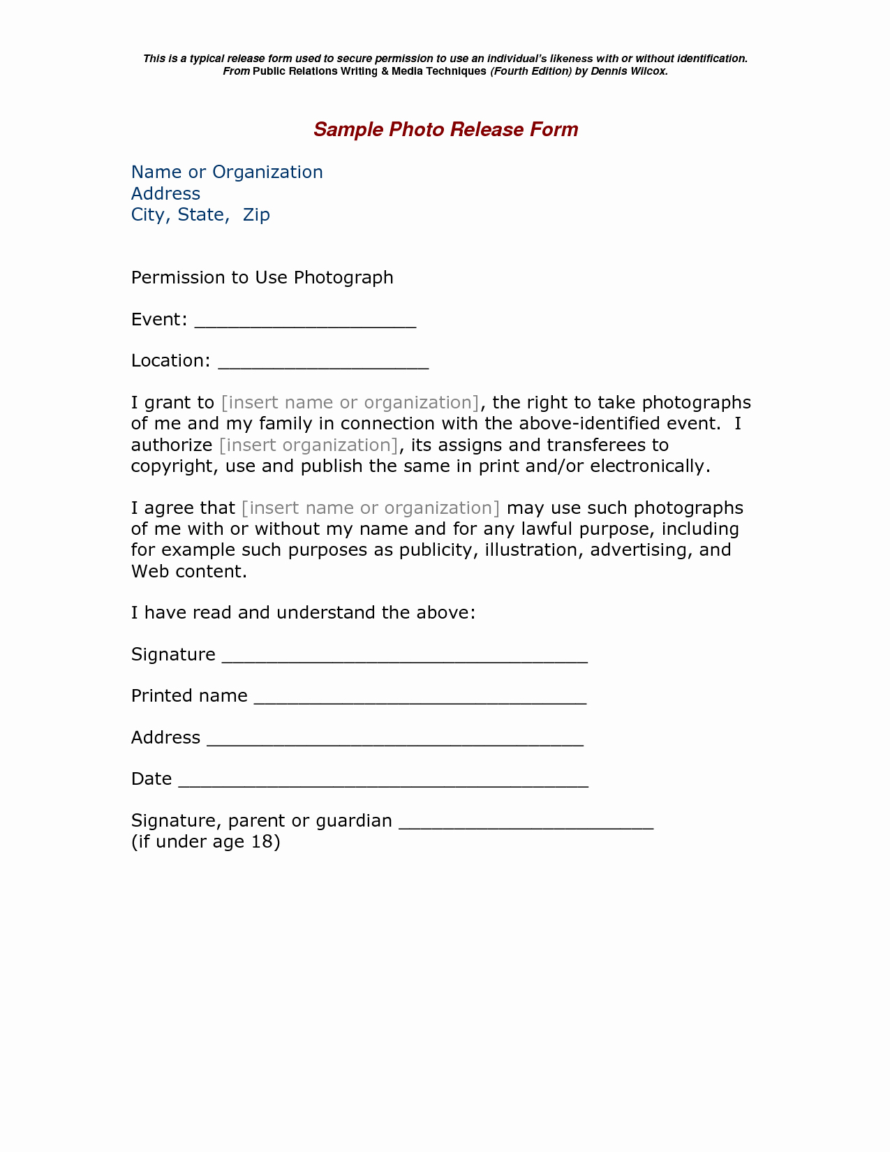 Print Release form Template Beautiful Pinterest Canada