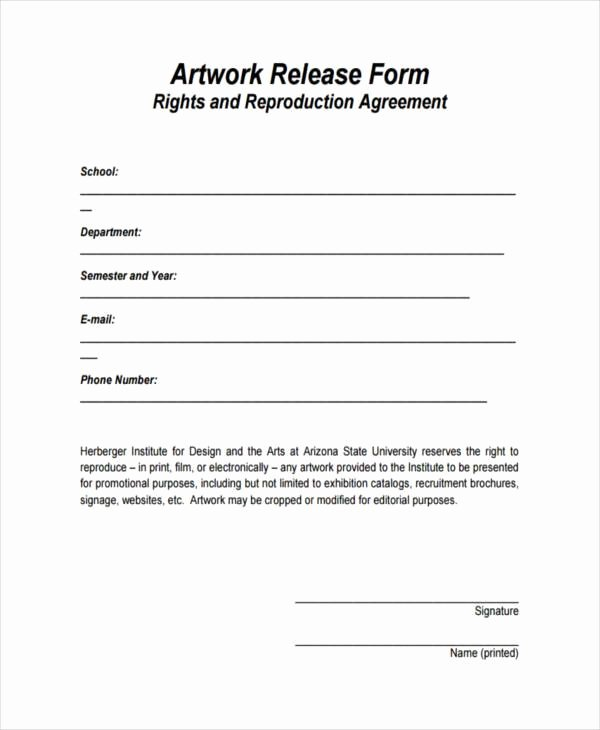 Print Release form Template Fresh Free 9 Artwork Release form Samples In Sample Example
