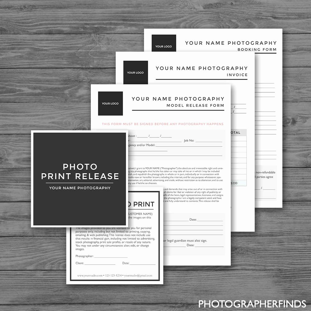 Print Release form Template Inspirational Graphy forms Templates Set Of 4 Model Release Print