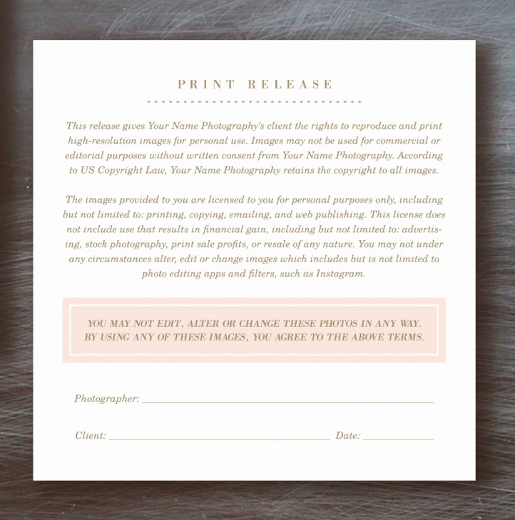 Print Release form Template Luxury Print Release form Template Lily