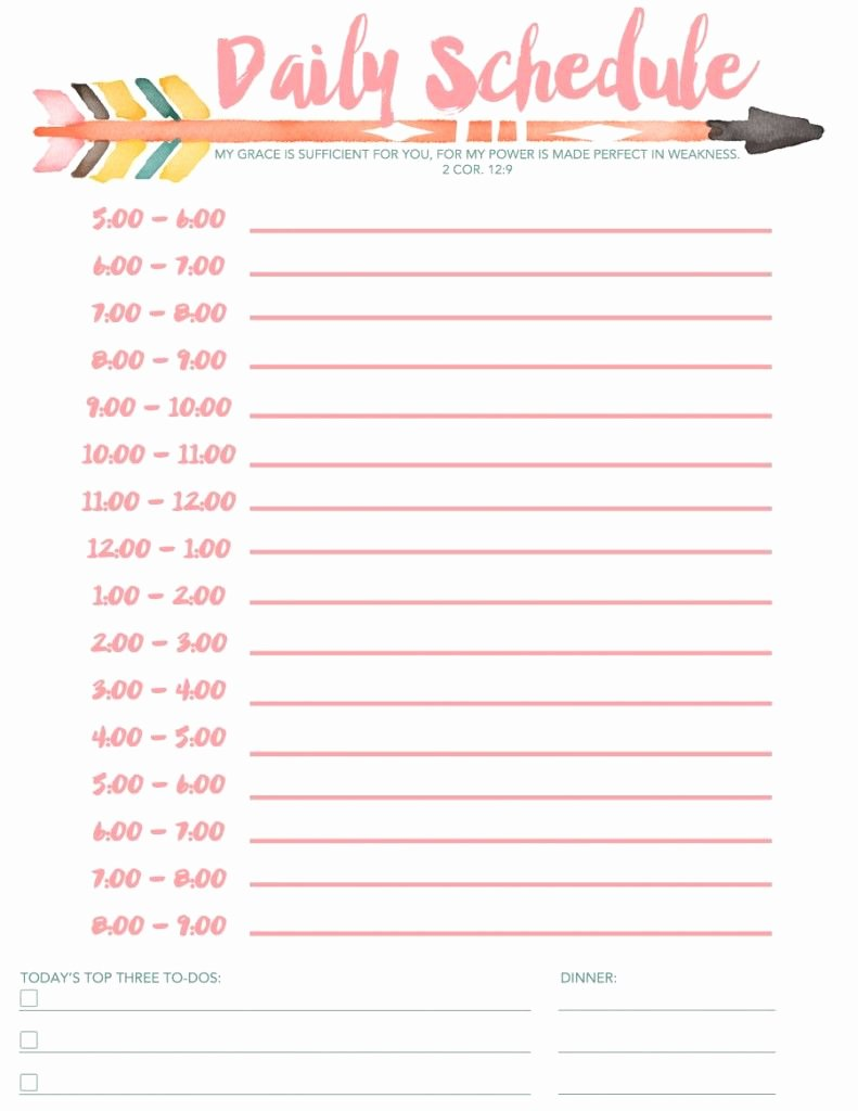 Printable Daily Schedule Template Awesome Daily Schedule Free Printable