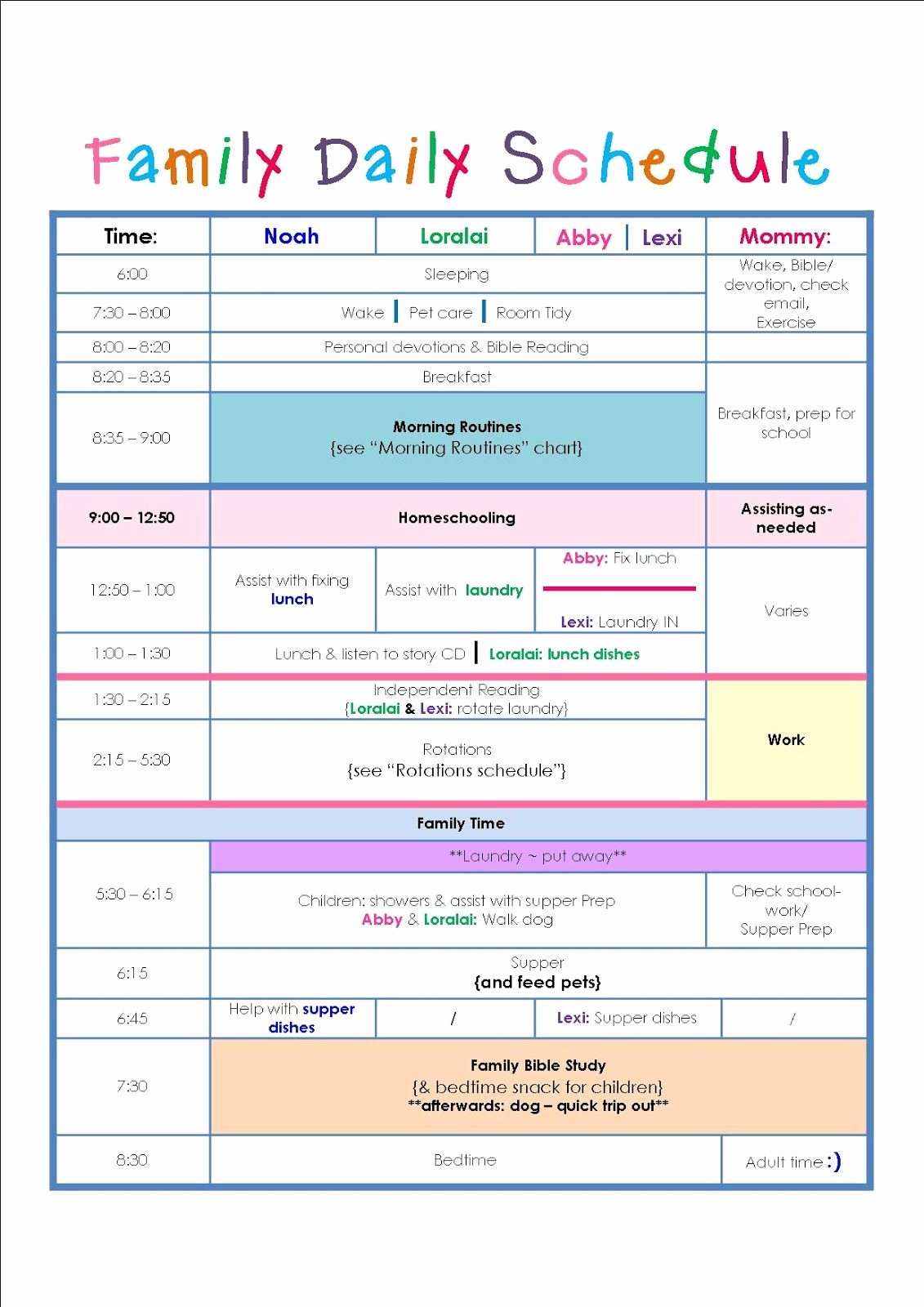 Printable Daily Schedule Template Awesome Family Daily Routine Schedule Template …