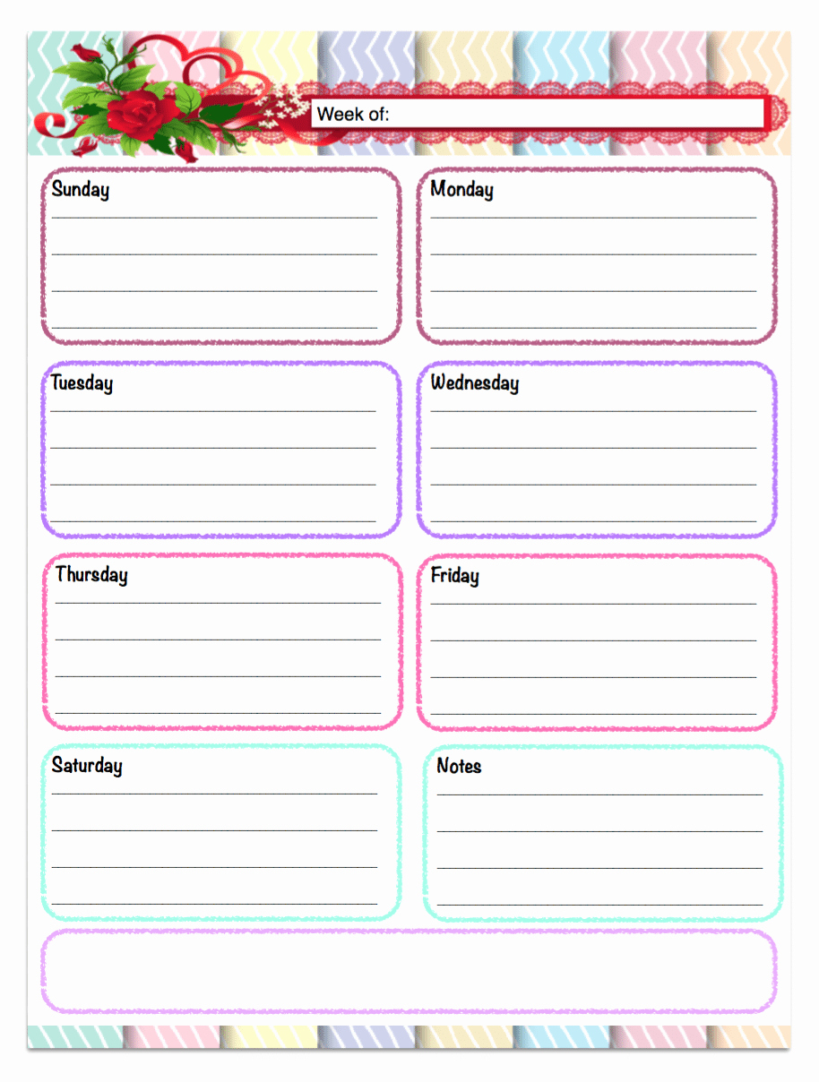 Printable Daily Schedule Template Inspirational Free Printable Weekly Calendars Planners Schedules