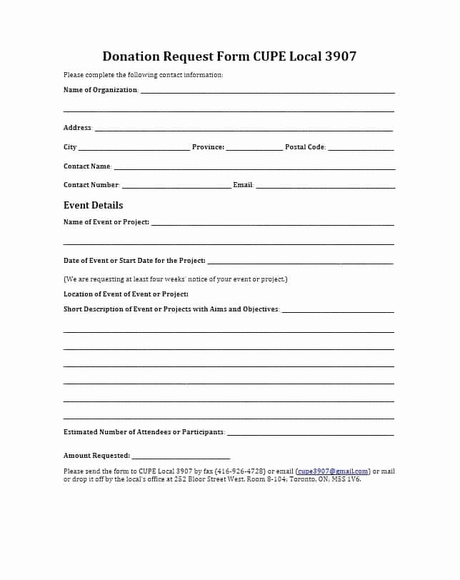 Printable Donation form Template Awesome 43 Free Donation Request Letters & forms Template Lab