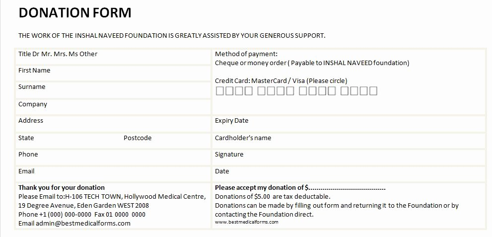 Printable Donation form Template Beautiful Printable Donation form Template