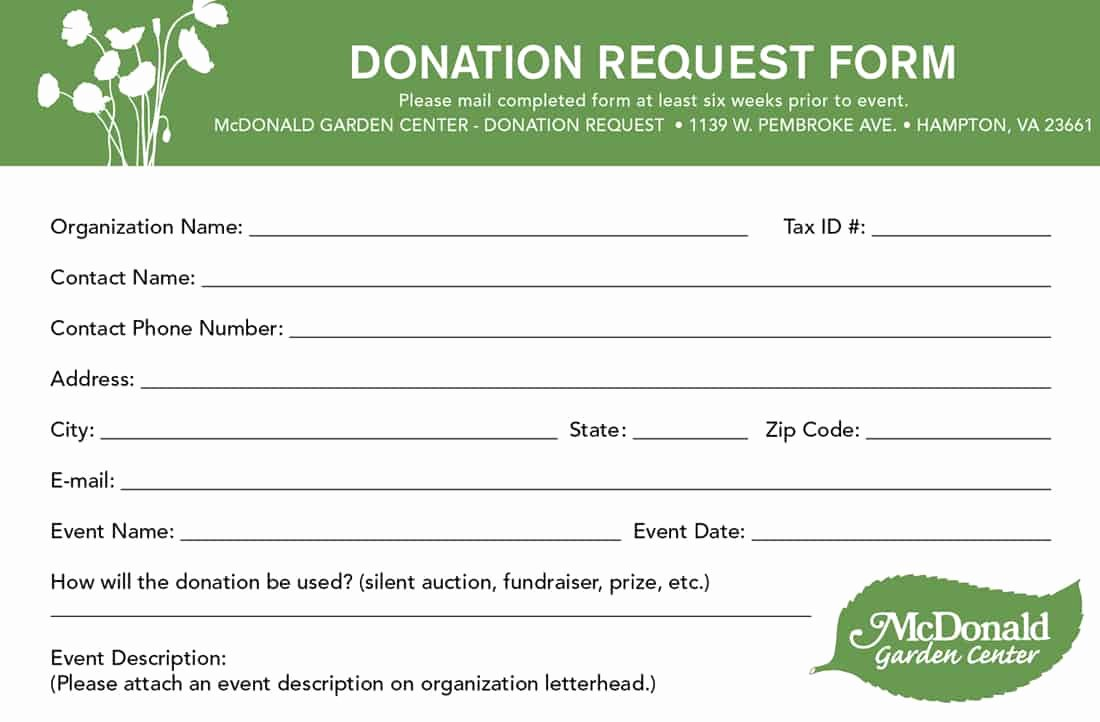 Printable Donation form Template Fresh 6 Donation form Templates Excel Pdf formats