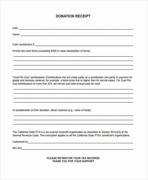 Printable Donation form Template Fresh Printable Receipt forms 41 Free Documents In Word Pdf
