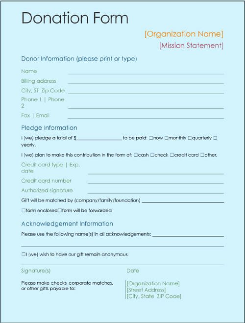 Printable Donation form Template Lovely Sample Printable Donation form Template