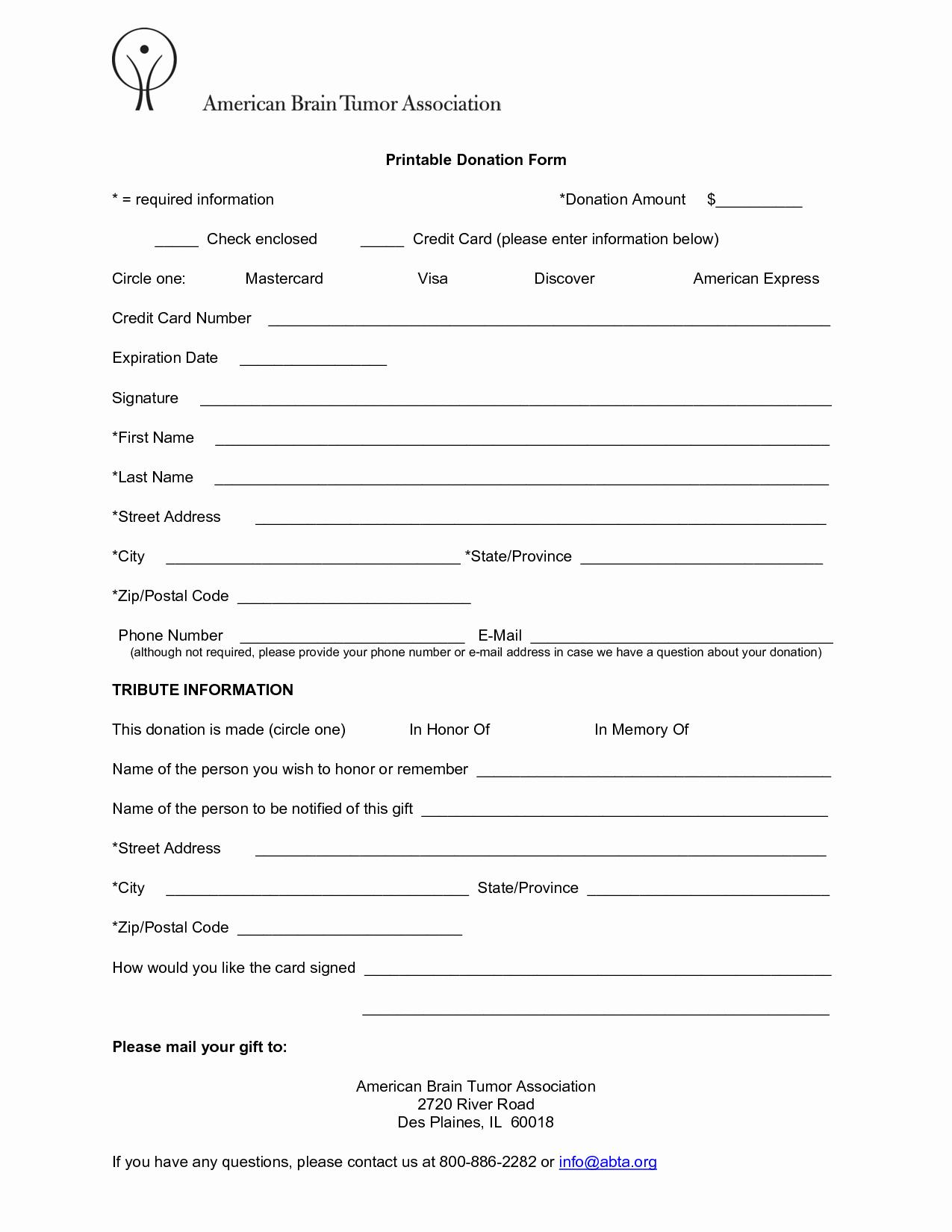 Printable Donation form Template Unique Donation forms Templates