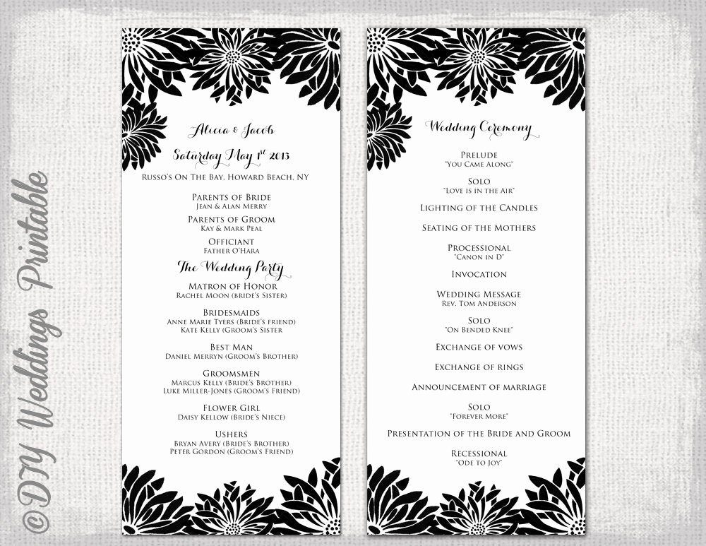 Printable event Program Template Beautiful Printable Wedding Program Template Black & White