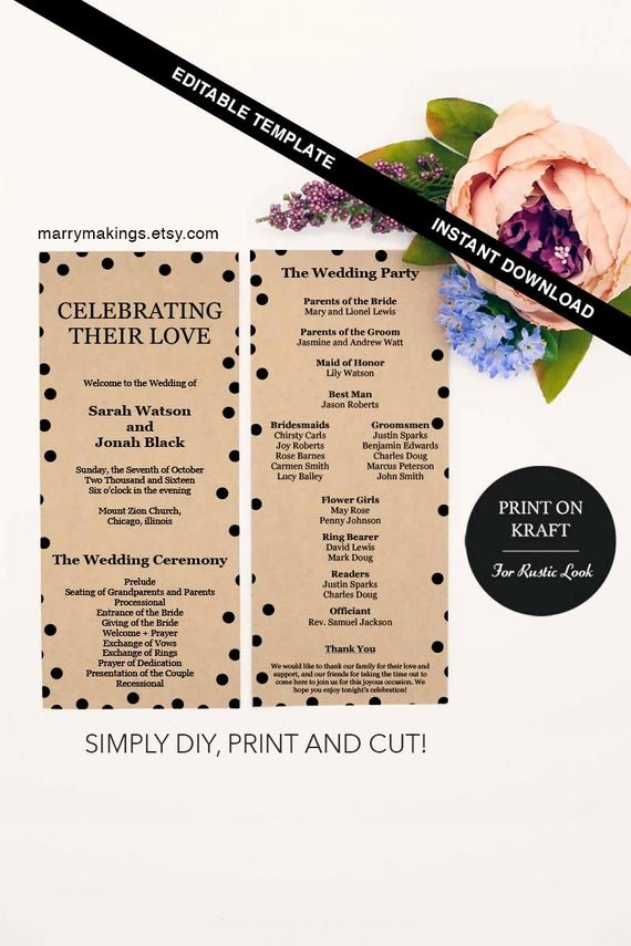 Printable event Program Template Best Of event Program Ceremony Printable Service Template Editable