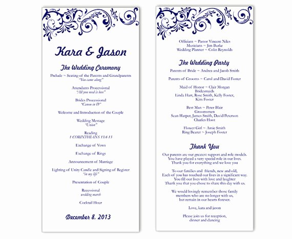 Printable event Program Template Elegant Wedding Program Template Word