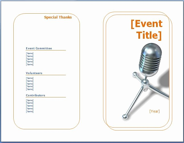 Printable event Program Template Fresh event Program Template
